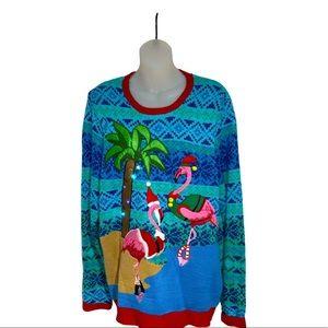 Jolly Sweaters Christmas Flamingos Lightsup
